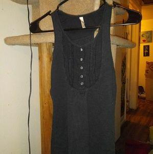 Unknown brand black tank top w/buttoned bodice